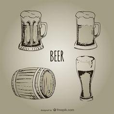 Barril, jarros y vasos de cerveza. Beer.