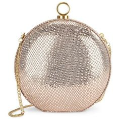 Halston Heritage Round Mini Audiere (189.075 CRC) ❤ liked on Polyvore featuring bags, handbags, clutches, purses, rose gold, halston heritage handbags, genuine leather purse, metallic leather purse, metallic leather handbags and metallic handbags