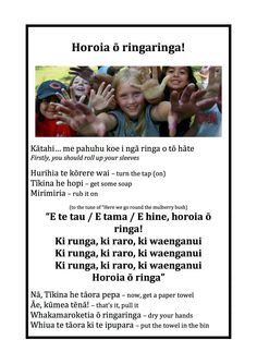 Horoia o ringaringa Teaching Aids, Teaching Resources, Brownies Activities, Waitangi Day, Learning Stories, Mulberry Bush, Sentence Structure, Classroom Environment, Early Childhood Education