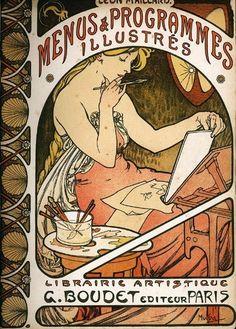 "Posters & Affiches: Alfons MUCHA ~""Librairie Artistique G. Boudet Paris"" Omslag van Alfons Mucha (1898)~"