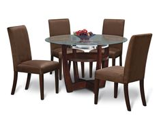 Finish off any room with the Alcove Table Set.      This 5-piece package includes a 48 round Table and four upholstered Chairs.     A perfect marriage of glass, wood and metal.     These three design elements meld to create a contemporary style.     Legs are all-wood.     Chairs are upholstered for amazing comfort.     Features a beautiful chocolate finish.     View our wide assortment of Aclove Dining Pieces online or visit a store close to home.      SKU: 1458833 - Alcove Chocolate