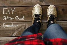 DIY Clothing & Tutorials: DIY Glitter Gold Sneakers