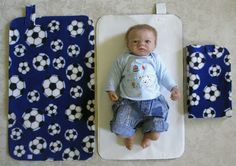 HAND MADE BABY TRAVEL CHANGING MAT - Football / Blue