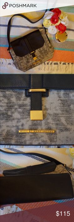 """🎉Sale🎉 Marc by Marc Jacobs bag Classy Marc by Marc Jacobs purse.  Longer adjustable strap- can be used as cross-body bag. Grey abstract design on a canvas like fabric. Excellent used condition.  Approx 11"""" wide, 9"""" high Bags Crossbody Bags"""