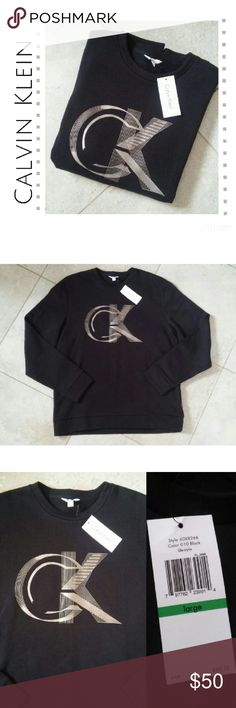 {Calvin Klein} black logo crew sweatshirt sz L New with tags! Calvin Klein Solid Black with CK logo Size large  MSRP $69.50 Calvin Klein Shirts Sweatshirts & Hoodies