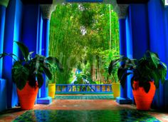 """""""The painter has the modesty to regard this enclosure of floral verdure as his most beautiful work…vast splendours whose harmony I have orchestrated… This garden is a momentous task, to whic… Marrakech Gardens, Marrakech Morocco, Ysl, Art Of Seduction, Moroccan Style, Moroccan Garden, Moroccan Decor, Terracotta Pots, Color Azul"""
