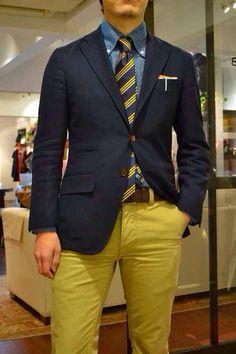 Denim shirt yellow pants