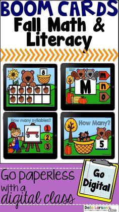 Boom Cards Fall Math and Literacy Bundle Distance Learning Kindergarten Math Activities, Math Literacy, Literacy Stations, Kindergarten Classroom, Literacy Centers, Classroom Ideas, Elementary Teacher, Elementary Education, Autism Classroom