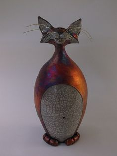 Naughty Cat,  Raku Pottery, whimsical fun.  Cats lovers favorite.  Hand made. large 14 inch sculpture.  Round Tree Pottery, Nolan Windholtz on Etsy, $160.00