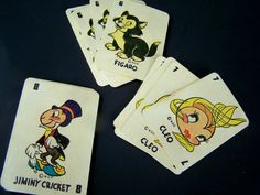 Pinocchio!  Vintage Toy , Walt Disney Production Pinocchio 1942/43 Miniature Playing Cards , 48 Total Cards