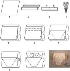 "This toilet paper origami pleated tuck is really pretty. Simply make the TP Basket design and then add a pleated ""square"" of toilet paper inside the Basket. Toilet Paper Origami, Toilet Paper Art, Towel Origami, Paper Oragami, Origami Lamp, Napkin Folding, Paper Folding, Diy Gifts Love, 1000 Lifehacks"