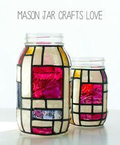 Mason Jar Crafts: Mondrian Look Mason Jar Tutorial