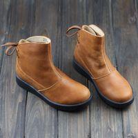 Botas de mujer zapatos de cuero genuino marrón / negro Martin botas con punta redonda plataforma gruesa suela de goma 2015 los zapatos de otoño ( H205 )