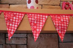 Fabric Banner - Fabric Bunting - Valentine's Day Red and Pink Circles and Hearts by monkeyandlamb on Etsy