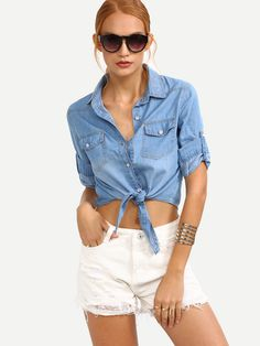 Shop Knot-Front Rolled Sleeve Blue Denim Blouse online. SheIn offers Knot-Front Rolled Sleeve Blue Denim Blouse & more to fit your fashionable needs.