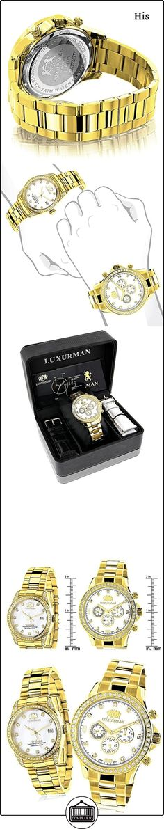 Matching His and Hers Watches LUXURMAN Yellow Gold Plated Diamond Watches  ✿ Relojes para mujer - (Lujo) ✿