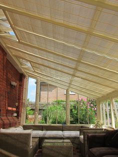 These pure™ Pinoleum roof blinds keep the sun out of your conservatory, without making it too dark. The soft dappled shade greats a great atmosphere on a warm summer's day.