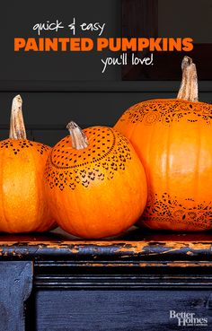 Spice up your Halloween decor with fun painted pumpkins. Spooky or cute we have all the pumpkin inspiration you need:  http://www.bhg.com/halloween/pumpkin-decorating/painted-pumpkin-ideas/?socsrc=bhgpin101713paintedpumpkins