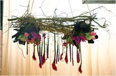 Flower Chandelier so Flick this is kind of the nest / trailing flowers thing I envisioned, only better, with hanging tealights! Barn Wedding Decorations, Wedding Ideas, Wedding Inspiration, Table Decorations, Flower Decorations, Wedding Blog, Wedding Stuff, Wedding Planner, Romantic Weddings