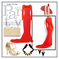 """""""Party#Red dress"""" by eelmaa ❤ liked on Polyvore featuring STELLA McCARTNEY, Dee Keller, Deux Lux, Yves Saint Laurent and Chico's"""