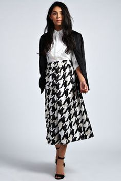 Danni Volumuous Dogtooth Wide Leg Culottes at boohoo.com