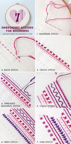 Most up-to-date Free Embroidery Patterns jeans Style sticken lernen einefache stiche sticktechniken gobelin techniken Embroidery Stitches Tutorial, Embroidery Sampler, Silk Ribbon Embroidery, Embroidery Techniques, Cross Stitch Embroidery, Embroidery Ideas, Diy Embroidery For Beginners, Embroidery Thread, Knitting Stitches