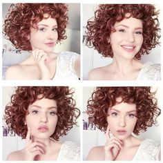 15 Hairstyles for short curly hair - Mid Length Curly Hairstyles, Curly Hair Cuts, Curled Hairstyles, Wavy Hair, Red Hair, Medium Hair Styles, Short Hair Styles, Short Curly Pixie, Redhead Makeup