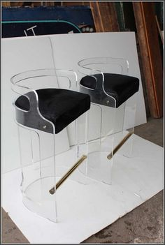 black and acrylic bar stools