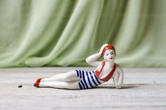 Vintage Striped Hand Painted Porcelain Lady by HouseofSeance