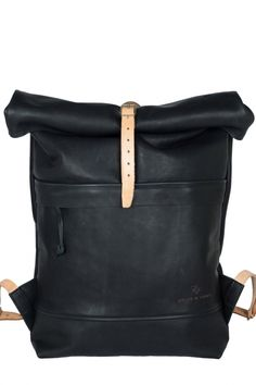 black leather roll top rucksack  URL : http://amzn.to/2nuvkL8 Discount Code : DNZ5275C