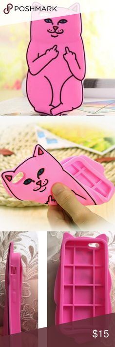 6 Plus Pink Cat IPhone Case Bad Kitty Pink Iphone case for 6 Plus. Also available in White and Black.  *Soft and Flexible Novelty item in manufacturer's packaging.   I have one of my own and it makes it easier for me to use my iphone allowing a comfortable good grip on the phone.   [tags# kitten kitty cat flicking off middle finger follow game cute cat iPhone case pink cell phone case] Accessories Phone Cases