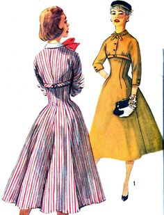 1950s Dress Pattern Simplicity 1713 Empire Waist Day or Evening Dress Full Skirt Detachable Collar Womens Vintage Sewing Pattern Bust 35. via Etsy. || #vintage #sewing #pattern #ladies