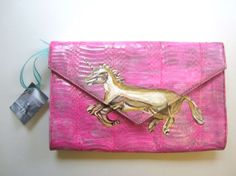 Pink Unicorn Clutch  Snakeskin Handbag  Hand by catsfromthefuture, $95.00