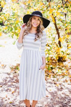 Striped Midi Dress in Grey | LucyAve