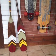 Hand painted canoe paddles by www.ropesandwood.com