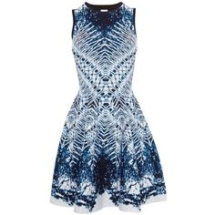 Karen Millen Marble Skater Dress, Blue/Multi (910 RON) ❤ liked on Polyvore featuring dresses, holiday dresses, evening maxi dresses, midi dress, fit and flare cocktail dress and blue cocktail dress
