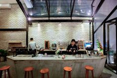 Image 7 of 29 from gallery of Brewman Coffee Concept / 85 Design. Photograph by To Huu Dung Cafe Bar, Cafe Restaurant, Restaurant Ideas, Cafe Shop Design, Small Coffee Shop, Cake Cafe, Concrete Interiors, Construction Process, Coffee Branding