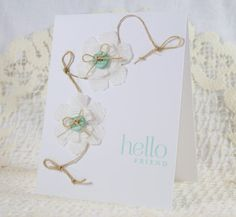CAS Hello card with crepe paper flowers and twine.