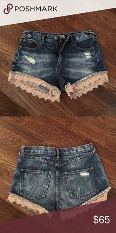 Free People Lacey Denim Cutoff Shorts Ripped denim, lace trim at bottom, 100% cotton, worn once, great condition, perfect with almost any top and shoe Free People Shorts Jean Shorts