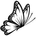 Black and white butterfly tattoo design