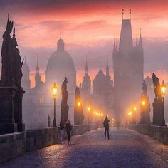 Charles Bridge, Prague. Beautiful picture. Can't help but think of the legend of the bridge.