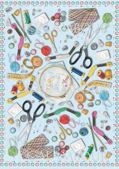 CAL 24 - Calambour Paper for classic Decoupage. Pattern : modern embroidery, scissors, thimbles, buttons, needles, pins and colourful sewing threads. Details: measures 50 x 70 cm, printing on 80 gr/mq paper sheet