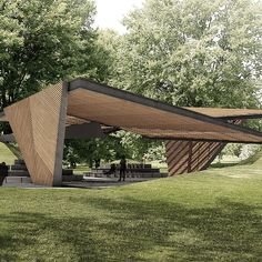 The Naomi Milgrom Foundation has unveiled the design for MPavilion the fifth MPavilion in an ongoing series, by Barcelona-based architect Carme Pinós of Estudio Carme Pinós. Pavilion Design, Pavilion Architecture, Landscape Architecture Design, Roof Design, House Design, Aluminum Pergola, Metal Pergola, Bus Stop Design, Shelter Design