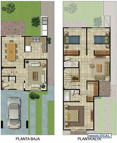 planos de casas de dos pisos - Buscar con Google Guest House Plans, Small House Floor Plans, Duplex House Plans, Modern House Plans, Villa Plan, Small House Layout, House Layouts, Building A Small House, Indian House Plans