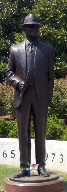 "Statue of Coach Paul ""Bear"" Bryant, outside of Bryant-Denny Stadium in Tuscaloosa, Alabama."