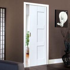 Single Pocket Symmetry Geo White Panelled sliding door system in three size widths. #whitesymmetrydoor #whitedoor #slidingdoor