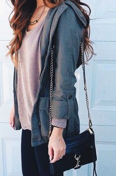 I like this Neutral-toned comfy top with a layered casual jacket. Nice fall look.