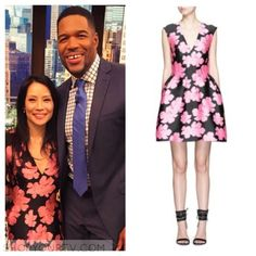 Kelly & Michael: May 2016 Lucy Liu's Pink and Black Floral Jacquard Dress