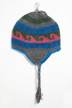 手工針織羊毛帽 / 手工內刷毛針織帽 / 飛行毛帽 / 毛線帽 / 鉤針毛帽 - 東歐海洋民族圖案 ( 手工限量一件 )