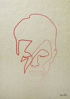 One Line Bowie by Quibe via Design Crush (I would love to try this on an Etch-a-Sketch)